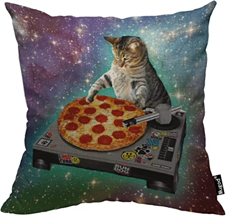 Amazon Com Mugod Pizza Cat Decorative Throw Pillow Cover Case Delicious Food Hipster Cool Cat Galaxy Sparkling Stars Cotton Linen Pillow Cases Square Standard Cushion Covers For Couch Sofa Bed 18x18 Inch Home