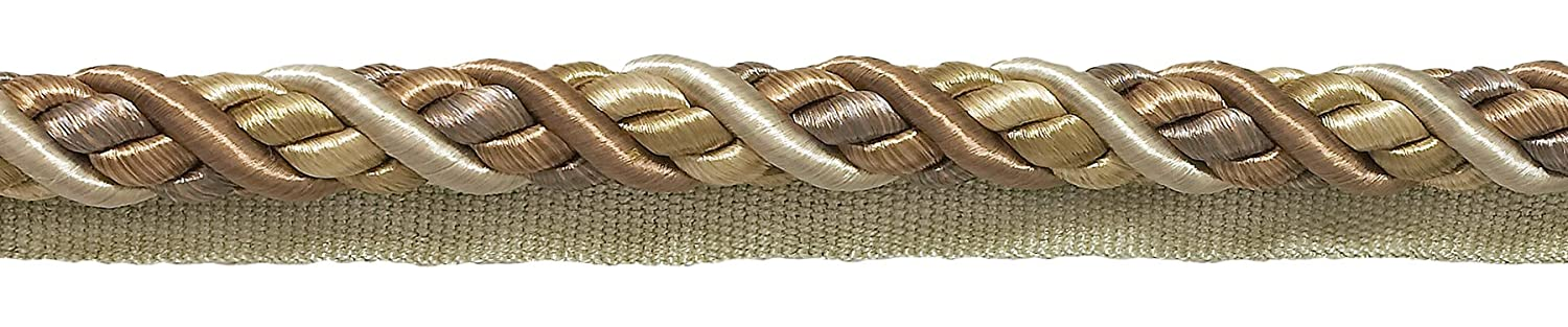 10 Yard Value Pack Large Beige Multi Tone Baroque Collection 7/16' Cord with Lip Style# 0716BL Color: SANDSTONE - 7245 (30 Ft / 9 Meters) DecoPro