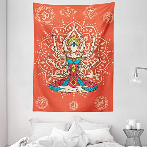 Ambesonne Yoga Tapestry, Yoga Technique with Costume Discipline Your Body and Mind Artprint, Wall Hanging for Bedroom Living Room Dorm, 60 X 80 , Cream Teal
