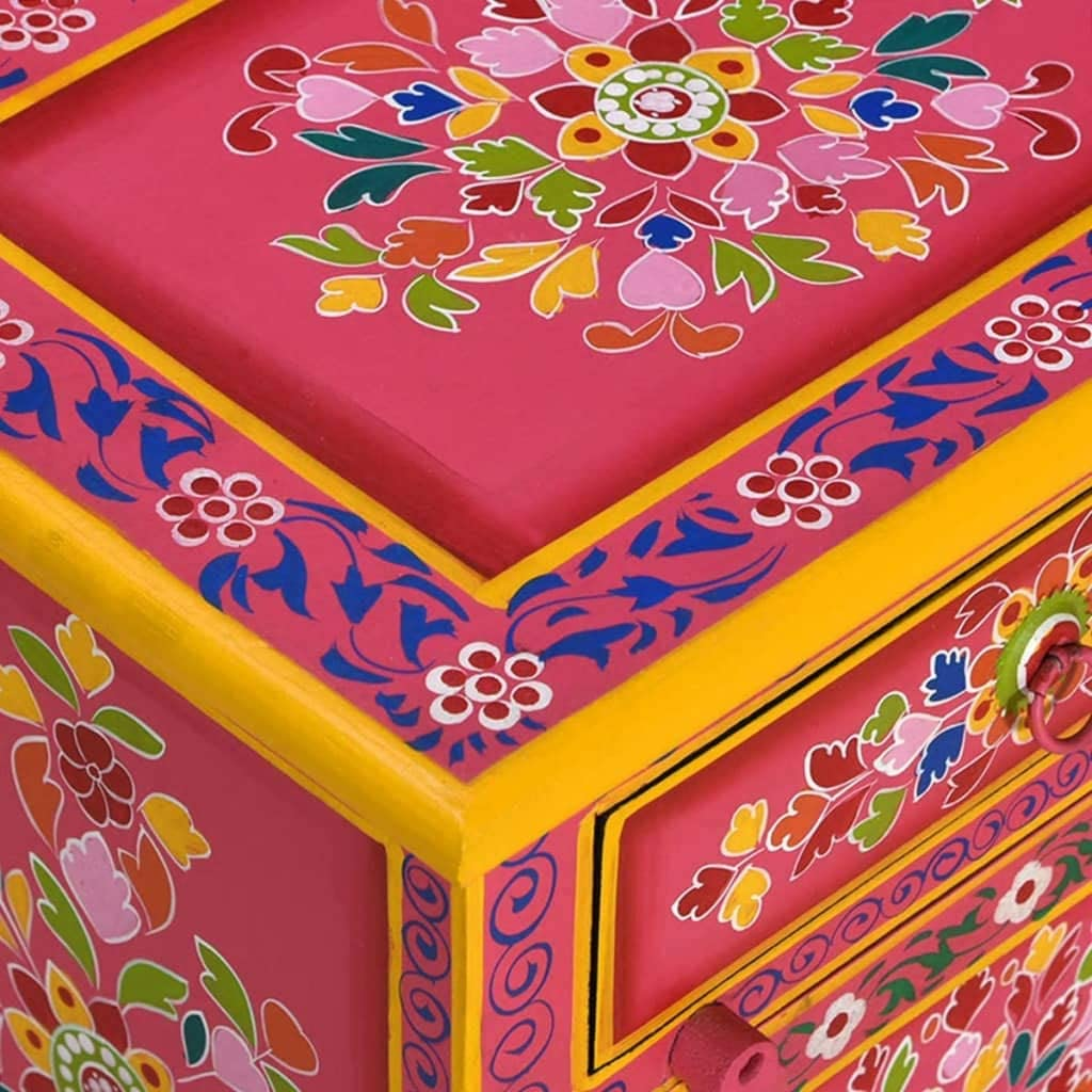 vidaXL Bois de Manguier Massif Table de Chevet Table de Nuit Armoire de Chevet Armoire de Lit Chambre Maison Int/érieur Rose Peinture /à la Main