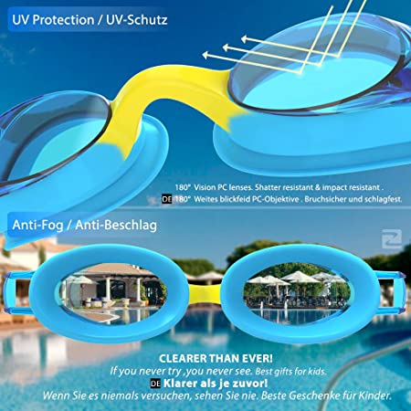 ZABERT Kids Swim Goggles for Children Age 0-14 Years Old Leakproof Shatterproof Anti-Fog UV Protection Quick Adjust Hard Case Nose Clip Ear Plugs for Fun Triathlon Indoor Open Water