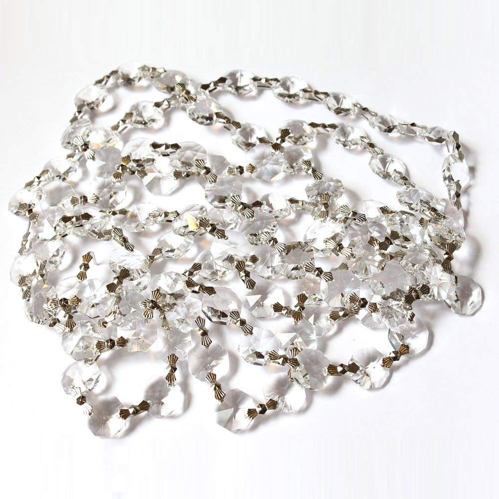 "39/"" Clear Crystal Octagon 14MM Bead Chandelier Lamp Part Chain Garlands"