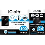 iCloth Lens and Screen Cleaner Pro-Grade Individually Wrapped Wet Wipes, Wipes for Cleaning Small Electronic Devices Like Smartphones and Tablets, Combo Pack of 124