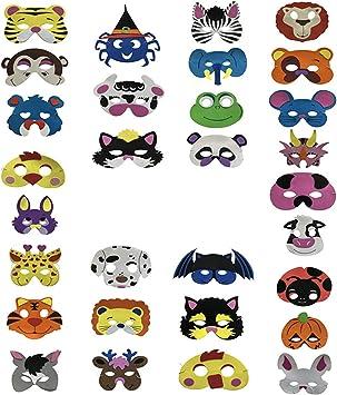30 Piezas Máscaras de animales de espuma Día de los niños Disfraz ...