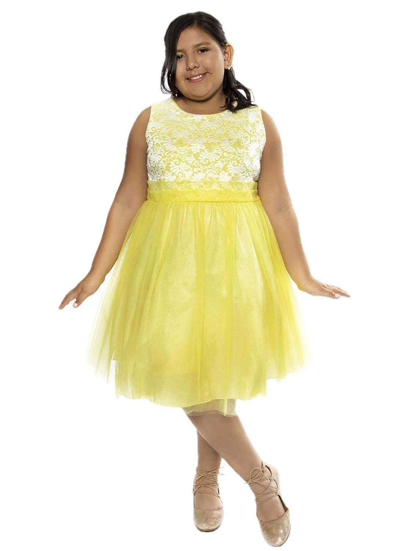 Amazon.com: Kid\'s Dream Big Girls Yellow Lace Plus Size Junior ...