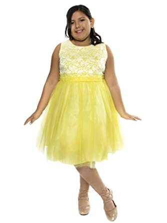 3516c9b9298e Amazon.com  Kid s Dream Big Girls Yellow Lace Plus Size Junior ...