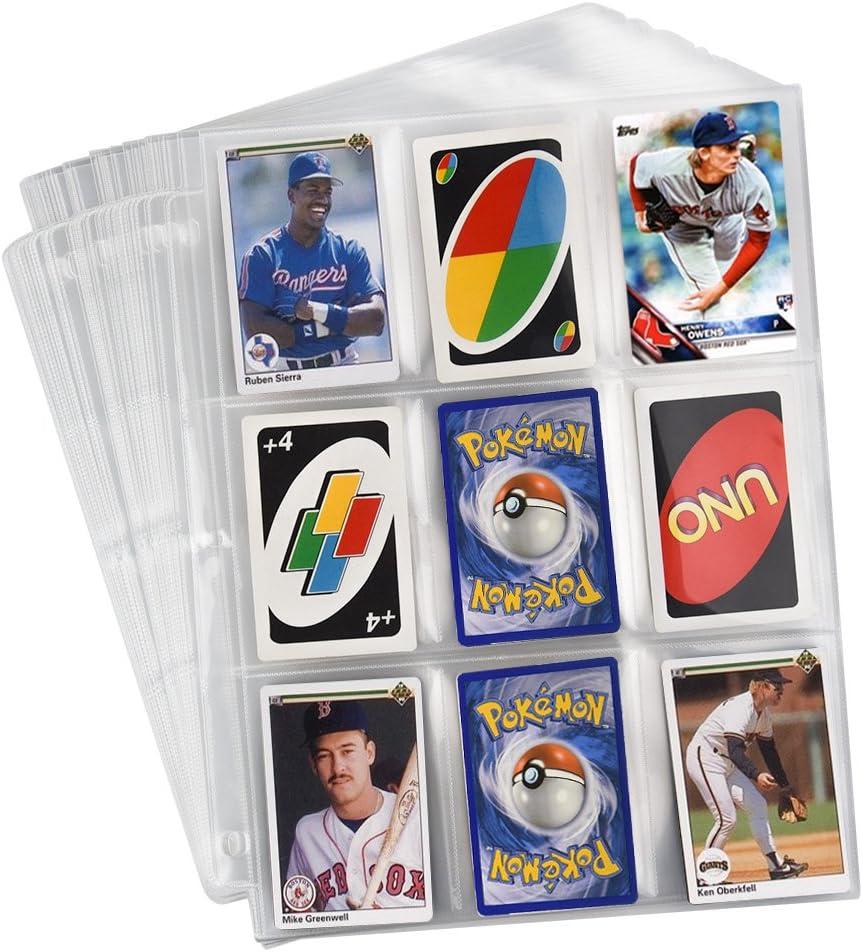 540 Tasche KUUQA 60 Fogli Tasche Neutre Tasche per Carte da Gioco Manicotto per Protezioni per Carte collezionabili Raccoglitore a 3 Anelli con 9 Tasche