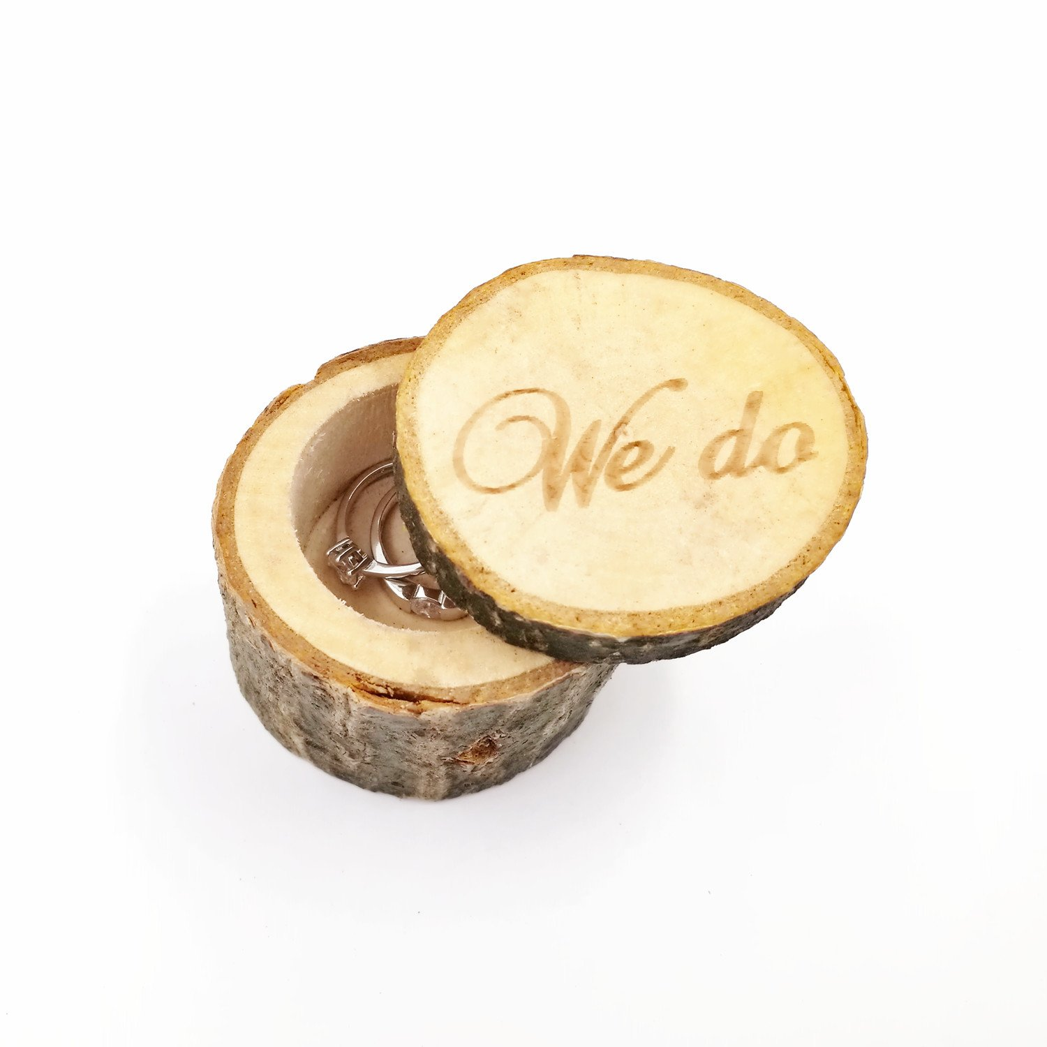 Kalevel 2pcs We Do Wedding Ring Box Cake Cupcake Toppers Rustic Wooden Ring Bearer Box Vintage Personalized Funny Wedding Cake Toppers Decorations Cake Insert Card Ring Holder for Wedding Ceremony by Kalevel (Image #3)