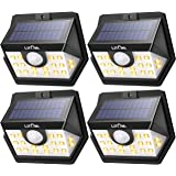 LITOM Enhanced Solar Lights Outdoor, Wireless Solar Motion Sensor Lights(Warm Light), 270°Wide Angle, IP65 Waterproof, Easy-to-install Security Light for Front Door, Yard, Garage, Deck, Porch-4 Pack