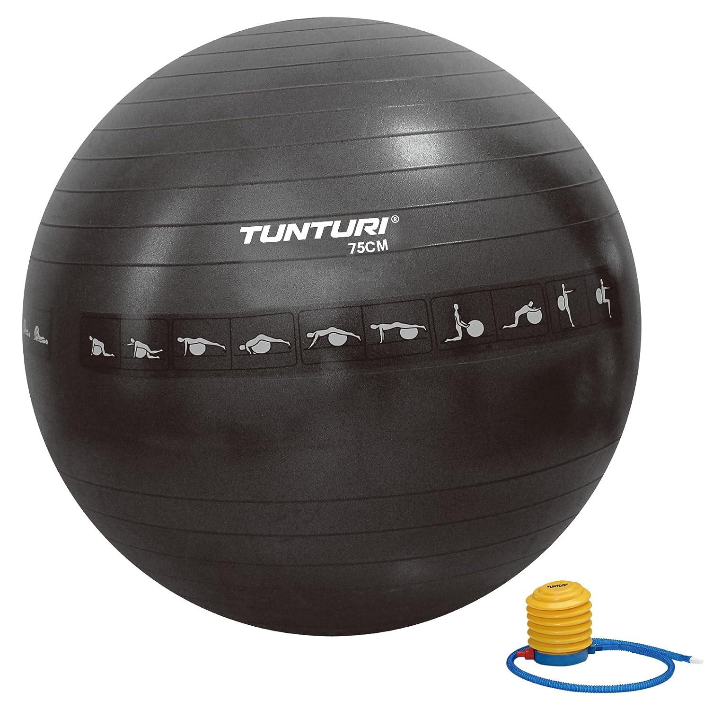 Tunturi-Fitness 14Tusfu288 Balón Suizo, Unisex Adulto, Negro, 75 ...