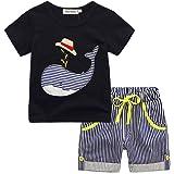 Bonjouree Ensembles Shorts et Haut Garçon, T-shirt Et Pantalons Courts à Rayures Pour Enfants Garçon 1-6 Ans