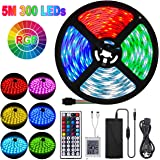 LED Strip Lights, 16.4ft RGB Light LED Tape Lights with 300 beads, Rope Lighting Color Changing with Remote Control, Strip Lights for Decoration Bedroom Home Kitchen TV