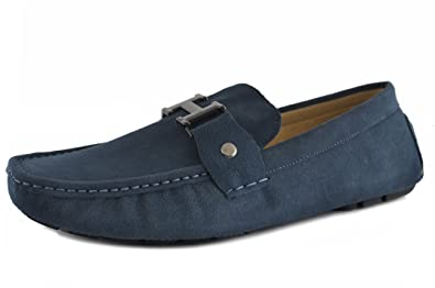 Men's Moccasin Blue Slip On Silver Buckle Leather Loafers Causal Mens Shoes Business Shoes Car Shoes (7.5 Navy Blue)