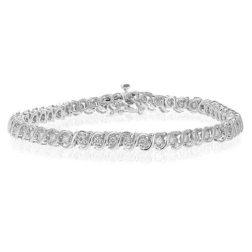 b75a7c0a913ae 1 cttw I1-I2 AGS Certified Diamond Bracelet 10K White Gold (IJ)