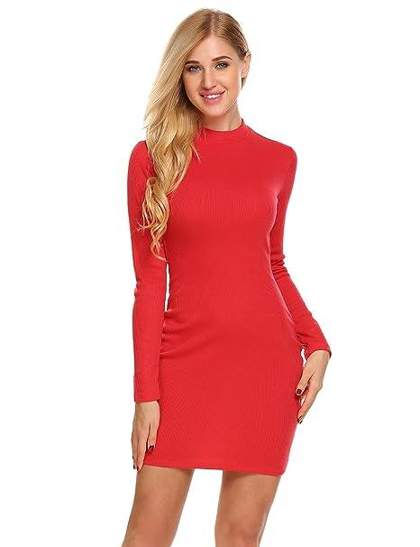 5625c8de ELESOL Women's Back Waist Hollow Out Mock Neck Long Sleeve Autumn Bodycon  Dress