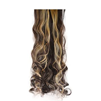Amazon elegant hair 22 clip in hair extensions curly dark elegant hair 22quot clip in hair extensions curly dark brownblonde mix pmusecretfo Image collections