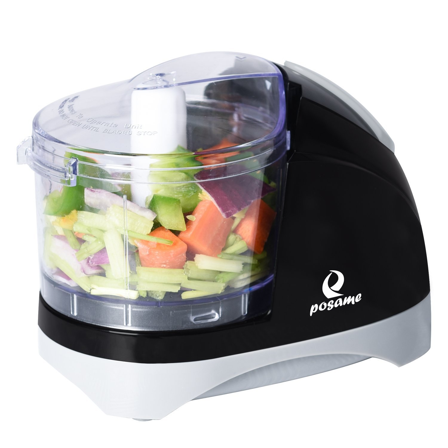 POSAME Chopper Dual Blade 1.5 Cup One-Touch Mini Food Chopper Food Processor Black SR-002SJH