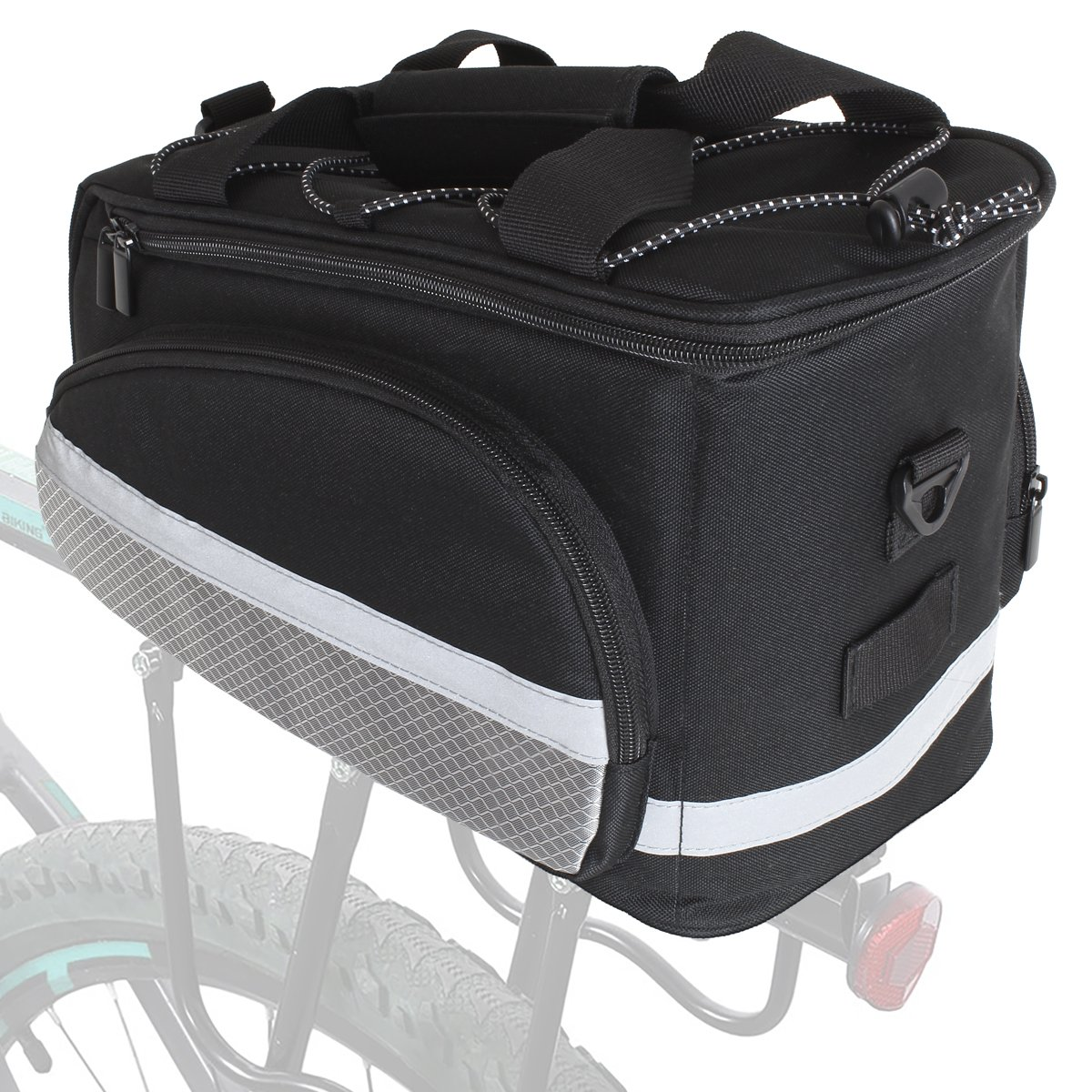 KOMODO Bike Bicycle Expandable Rear Rack Pannier Bag with Side Storage Black Bottle Holder Carry Strap and Rain Cover//Seat Saddle Water Resistant