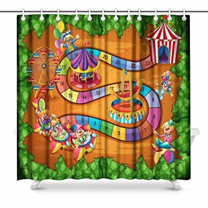 InterestPrint Board Game With Theme Of Circus Bathroom Shower Curtain Accessories 72 Inches Extra Long