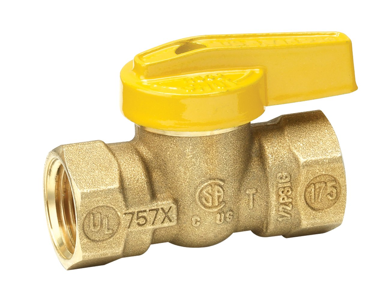 Homewerks VGV-1LH-B3B Premium Gas Ball Valve, Female Thread x Female Thread, Brass, 1/2-Inch