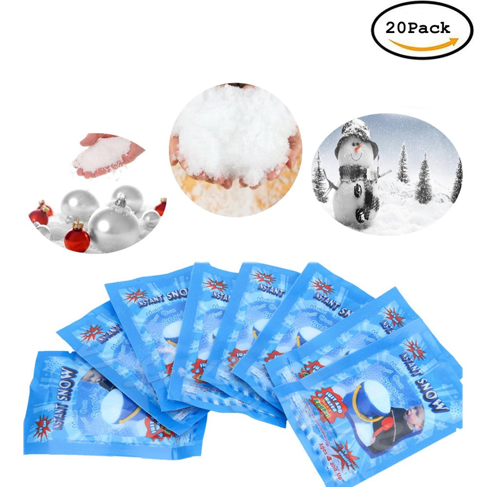 CoscosX 20 Pack SAP Magic Snow Instant Fake Fluffy Snow Powder Reusable DIY Artificial Slime Simulation Snow Super Absorbant Christmas Wedding Festival Market Fairy House Decor Children Toys
