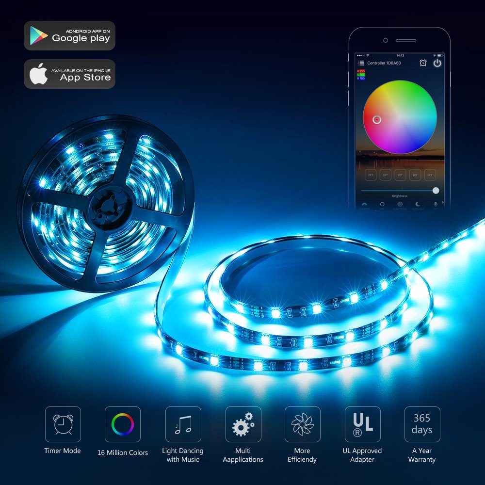 Nexlux LED Strip Lights, WiFi Wireless Smart Phone Controlled Light Strip LED Kit 5050 LED Lights,Working with Android and iOS System,Alexa, Google Assistant by Nexlux (Image #4)