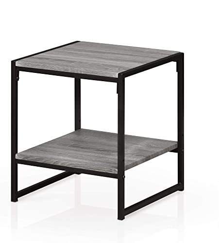 Furinno Modern 2-Tier End Table, French Oak Grey