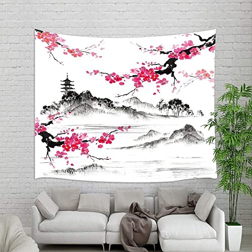 Japanese Watercolor Spring Tapestry Wall Hanging, Mount Fuji with Cherry Blossoms Sakura Flower Wall Tapestry Art for Home Decorations Dorm Decor Living Room Bedroom Bedspread, Wall Blanket, 90X70in