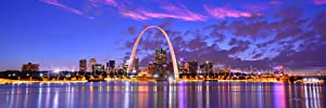 St. Louis Skyline Photo Print UNFRAMED Dusk Sunset Color City Downtown 11.75 inches x 36 inches Gateway Arch Photographic Panorama Poster Picture Standard Size