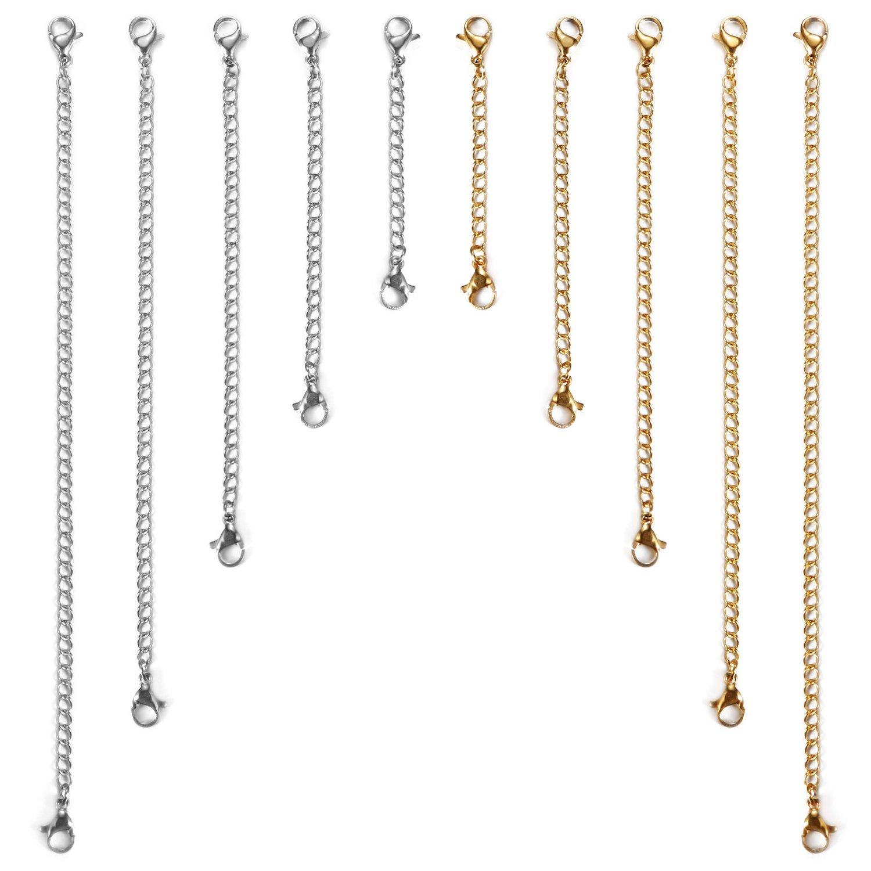 208074b7a3ef JewelryWe Cadena de Repuesto Alargador de Cadenas Acero Inoxidable 10  Piezas de Plateado Dorado