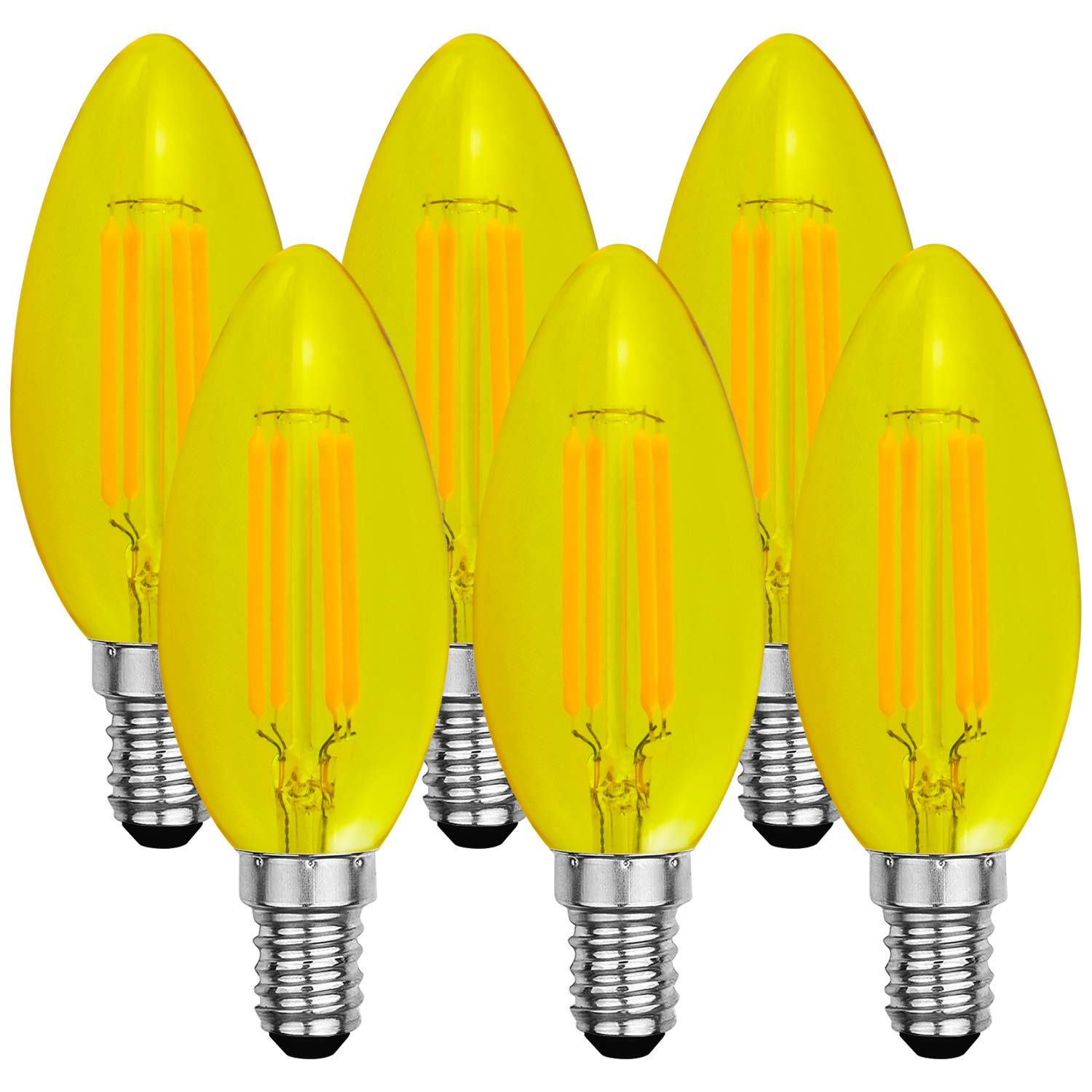 Luxrite Yellow LED Light Bulb, 4W, Dimmable LED Filament Bulb, E12 Candelabra Base, UL Listed - Front Porch Light, Bug Light Bulb (6 Pack)