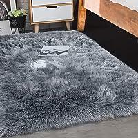 Floor Rug Shaggy Carpet Area Rugs Soft Fur Living Room Bedroom 60X120 Dark Grey Dark Grey 60cm x 120cm