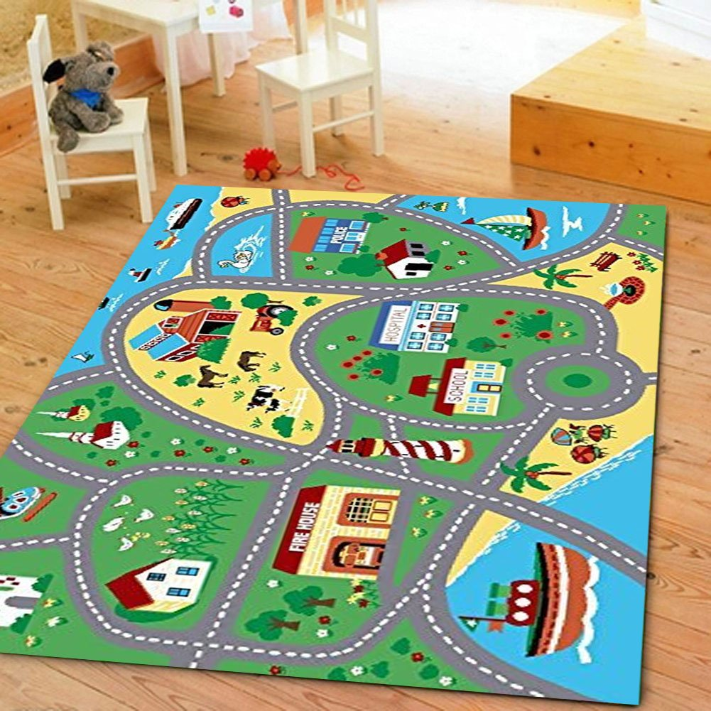 Furnish my Place City Street Map Children Learning Carpet/Kids Rugs Boy Girl Nursery/Bedroom/Playroom/Classrooms Play Mat, Rectangle, 3'3'' L