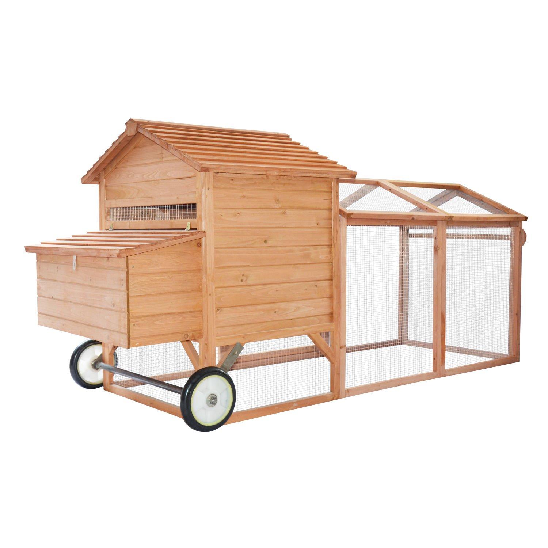 Pawhut 96'' Wheeled Tractor Hen House Chicken Coop w/ Run