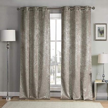 kensie Maddie Silver Metallic Textured Blackout Darkening Grommet Top  Window Curtains Pair Drapes for Bedroom, Living Room-Set of 2 Panels, W38\