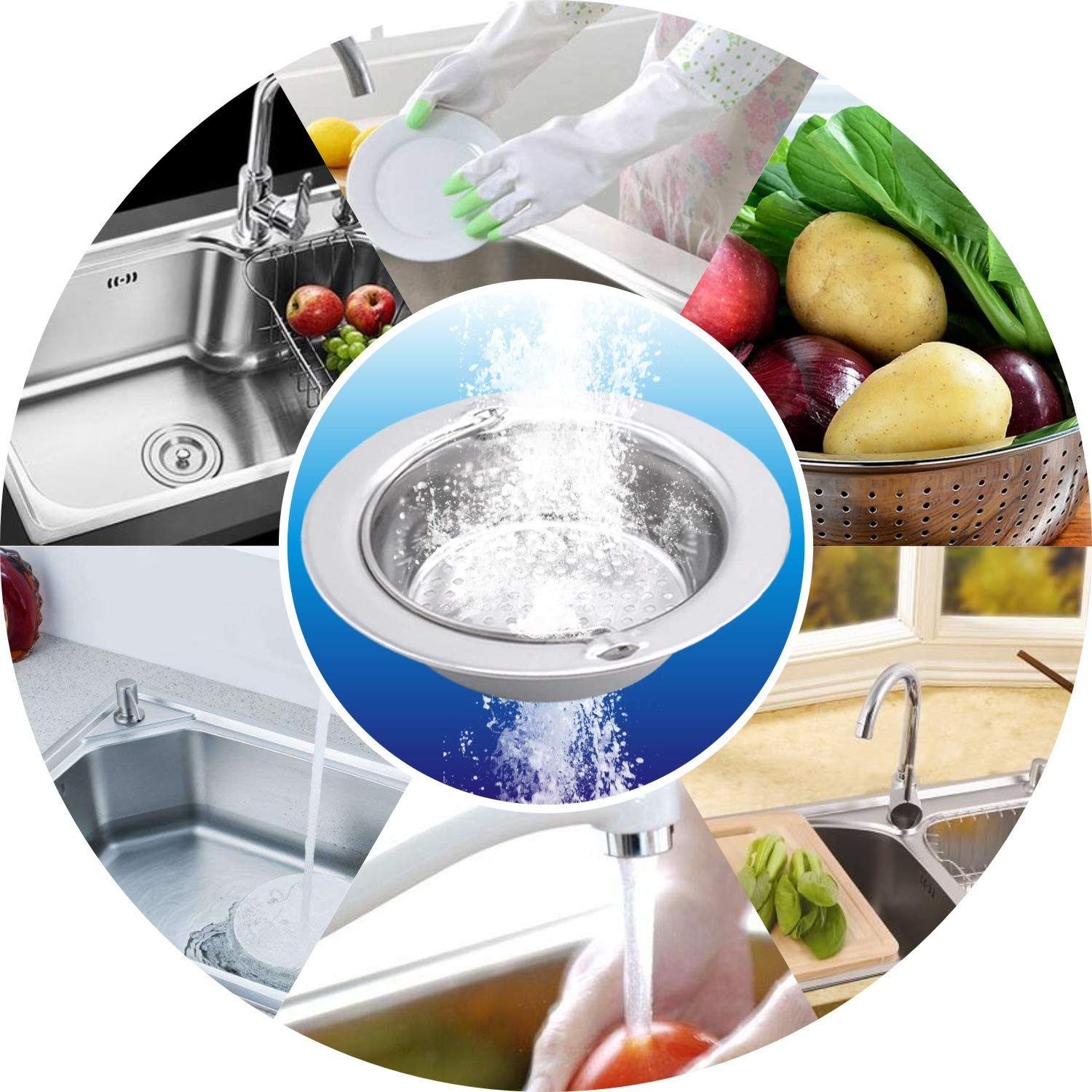 2PCS Stainless Steel Kitchen Sink Basket Strainer with Handle Garbage Disposal Stopper Mesh Basket, Kitchen Sink Strainer Baskets, Wide Rim 4.33\