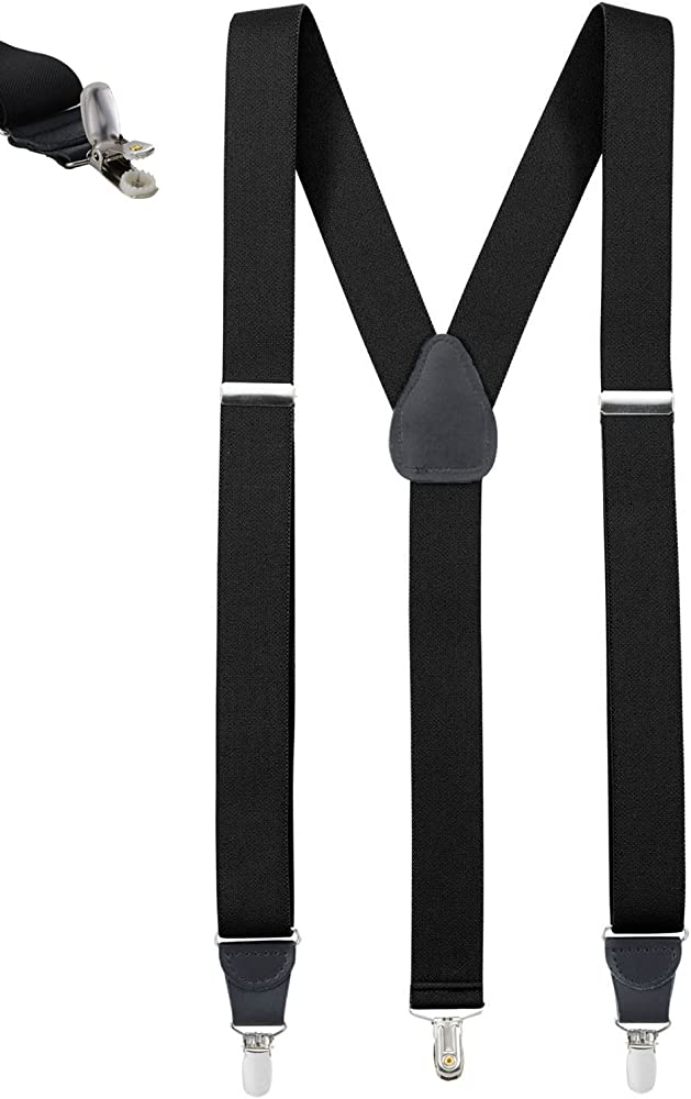 ONE Piece Black and White Checkered Clip-on Braces Elastic Y-back Suspender