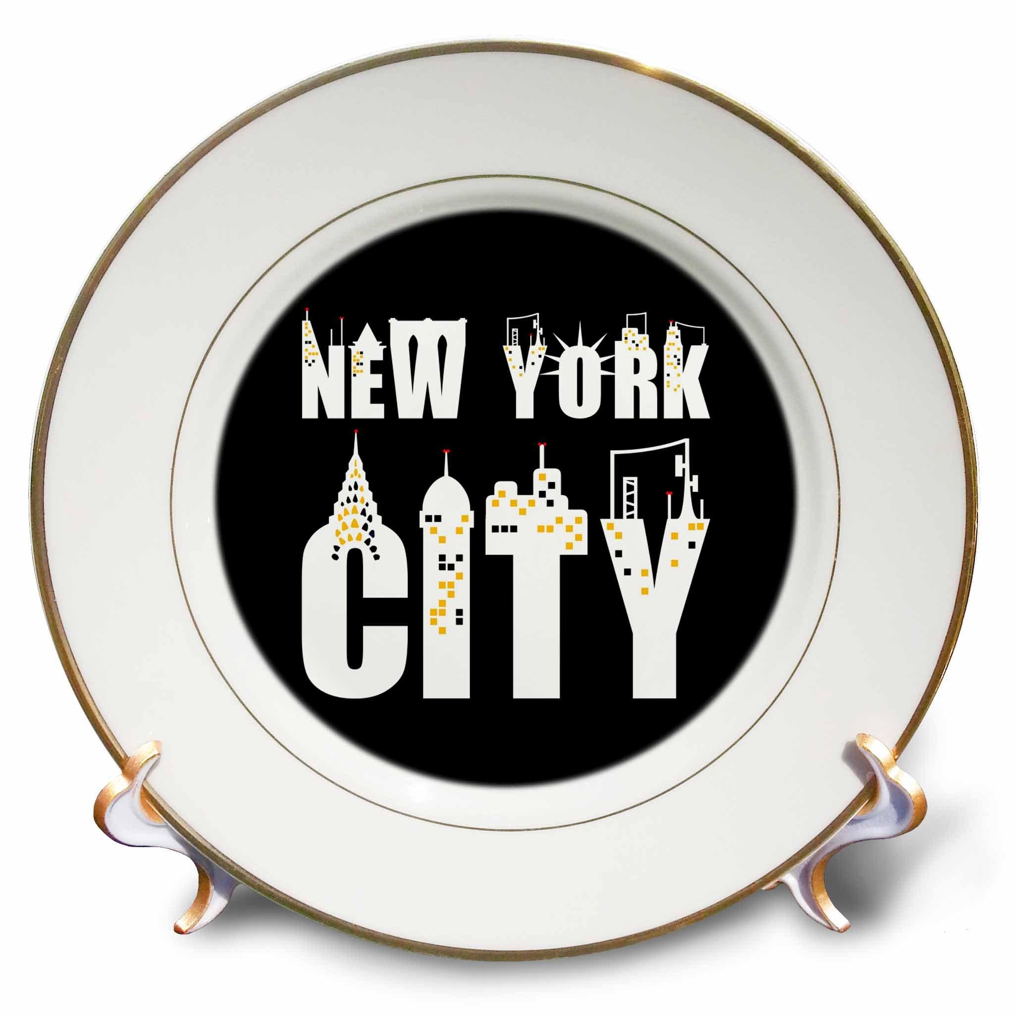 3dRose Alexis Design - American Cities - Stylish text New York City, landmarks, shining windows on black - 8 inch Porcelain Plate (cp_286454_1)