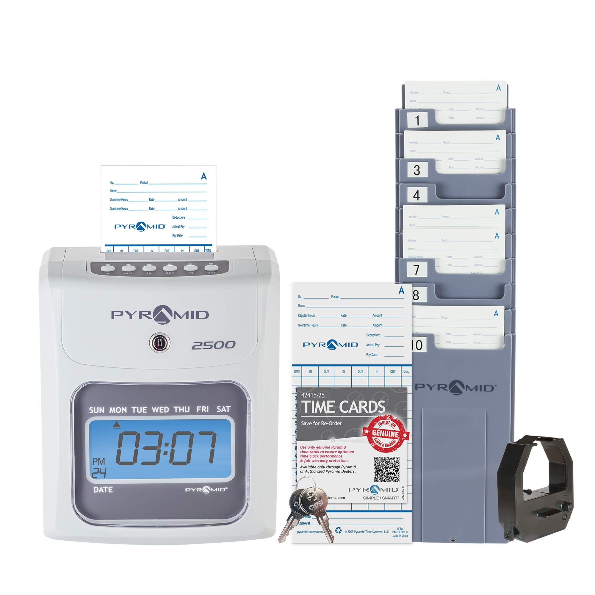 Pyramid 2500 Small Business Time Clock Bundle with 100 Time Cards, 1 Ribbon, 1 Time Card Rack, 2 Security Keys - No Employee Limit by Pyramid Time Systems