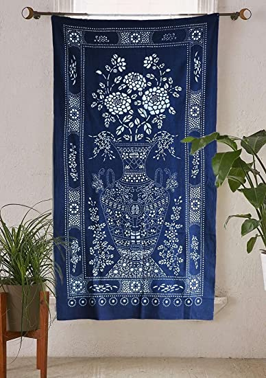PRICE CUT Vintage Japanese Noren Curtain Panels Shibori Pattern for Wall Hanging or Privacy Curtain