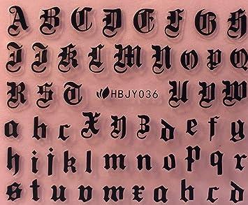 Amazon.com: Nail Art 3D Decal Stickers Alphabet Letters Black HBJY036: Beauty