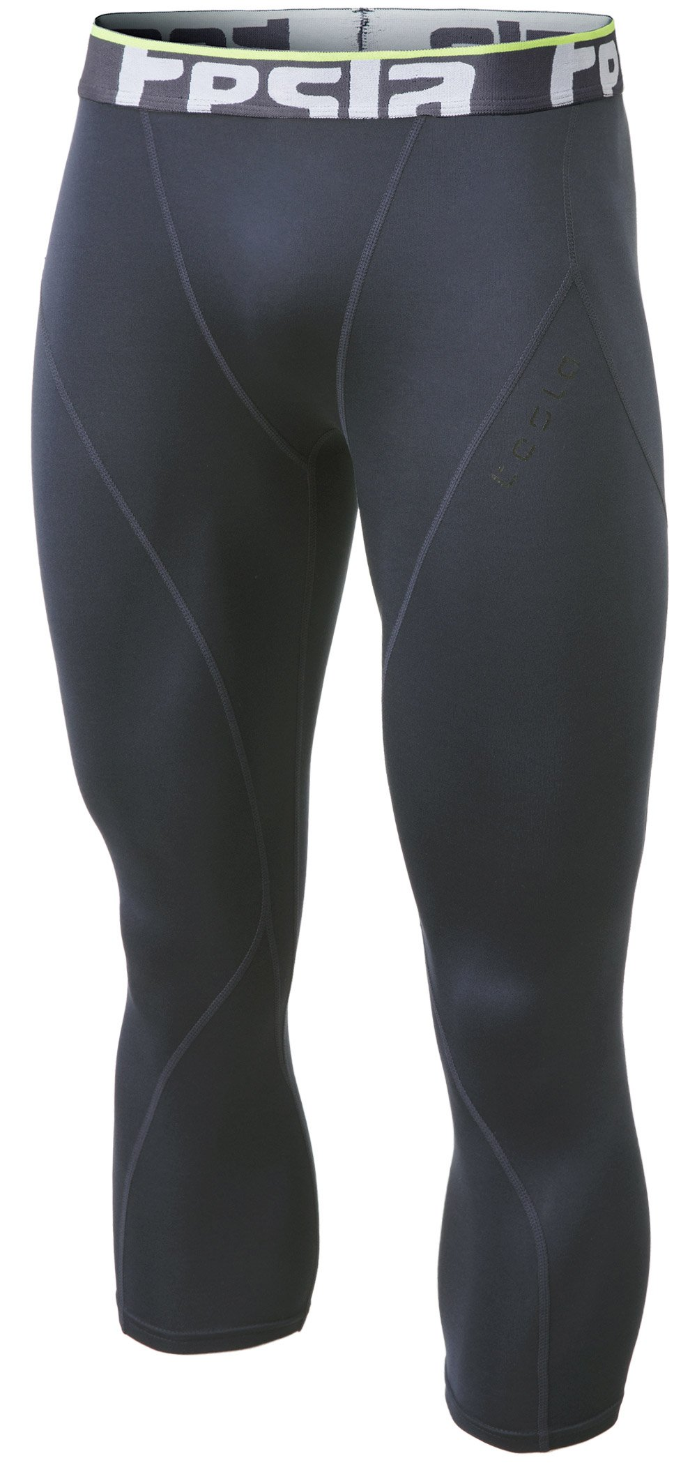 Tesla TM-YUC32-DGY_Large Men's Thermal Wintergear 3/4 Capri Shorts Compression Baselayer Tights YUC32