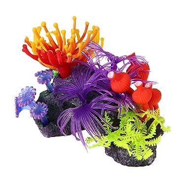 Domybest - Adornos de resina artificial para acuario o acuario, diseño de flores de coral: Amazon.es: Productos para mascotas