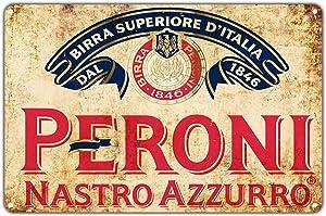 Peroni Nastro Azzurro Beer 1846 Vintage Wall Décor Art Metal Bar Pub Italia Brewery Aluminum 12