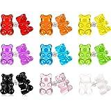 18 Pairs Plastic Post Earrings Cute Bear Earring Set Pendant Earrings for Women