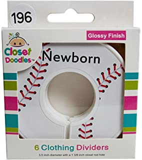 Closet Doodles C196 Baseball Baby Boy Clothing Dividers Set of 6 Fits 1.25inch Rod