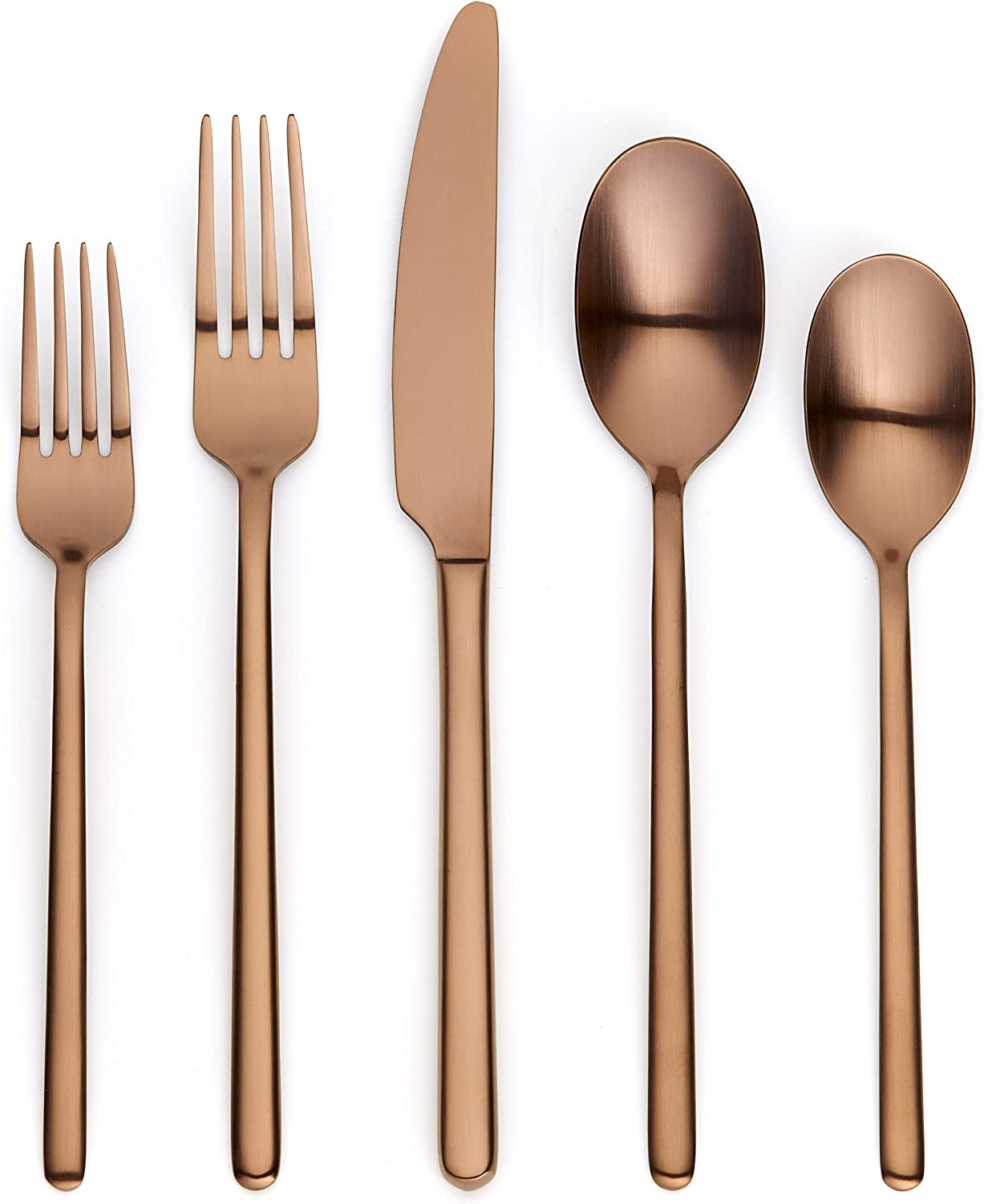 Ornative Jayden 20-Piece Stainless Steel Flatware Set  Silverware Set for 4  Copper   Includes Forks, Knives, and Spoons  Dishwasher Safe  Durable and Easy Care  Best Silverware
