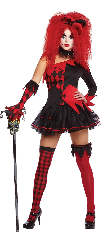 Karnevalsbud - Damen Harlequin Clown Horrorkostüm, Mehrfarbig, Größe Größe Größe M fa4efa