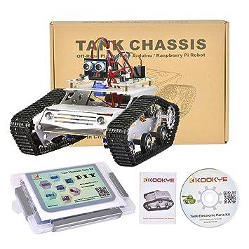KOOKYE Tank Smart Car Platform 2WD Metal Stainless Steel Chassis