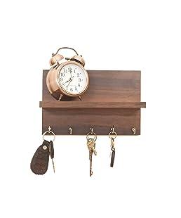 Kanantraders Metvan Wooden Shelf Key Holder (25 x 11 x 0.3 cm, Brown)